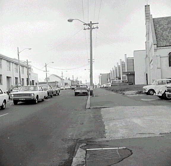 Botany Road. 1969. St Silas church at left.