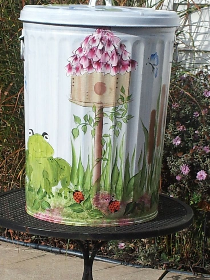 253 Best Images About Hand Painted Trash Cans On Pinterest