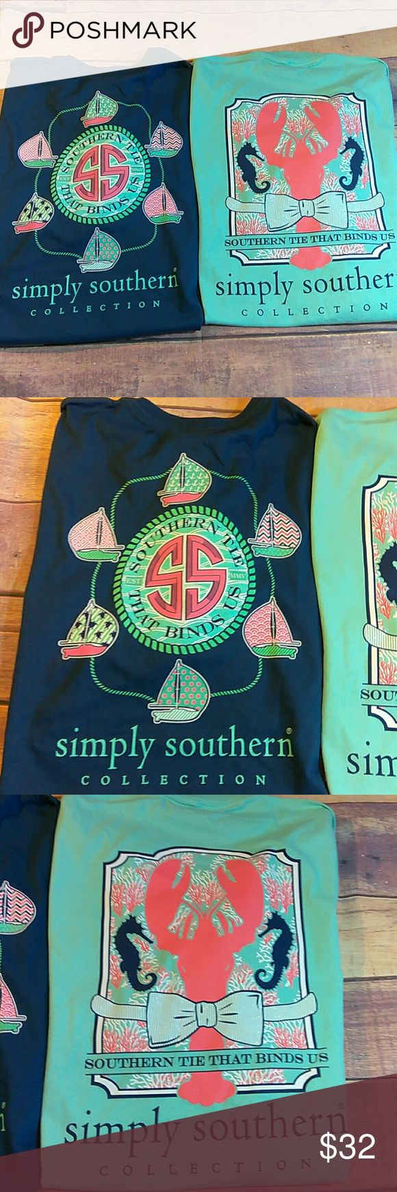 NWT 2 Simply Southern size 2x Brand new with tags, you will get both shirts. Will ship either day of or next day.  These are older shirts before they started putting in the simply southern tag in shirts. Simply Southern Tops Tees - Short Sleeve