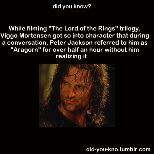 Viggo Mortensen as Aragorn.  And to think, this guy was cast late.  IT WAS SUPPOSED TO BE SOMEBODY ELSE, GUYS.   I can't even imagine it.