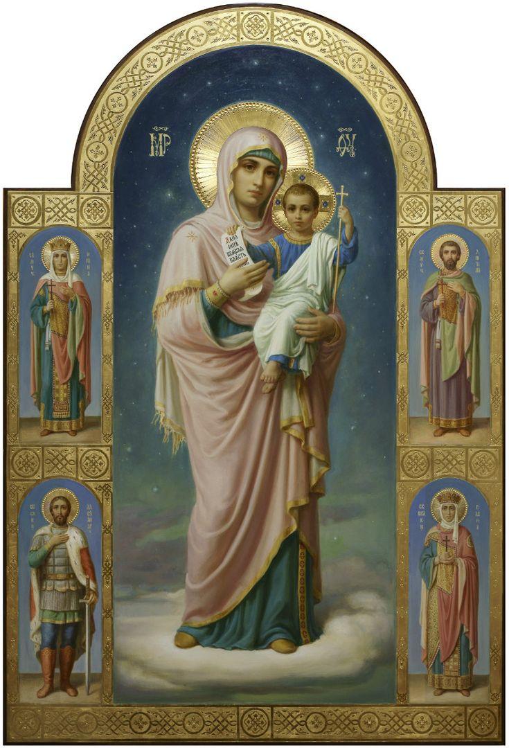 Богородица с Младенцем и избранными святыми, икона в академическом стиле