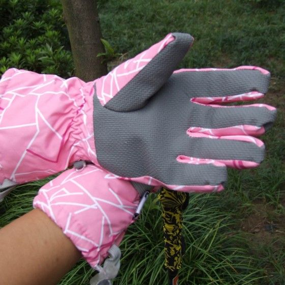 Snowboard Skiing Riding Cycling Gloves Outdoor Waterproof Windproof Winter Thermal Women Pink