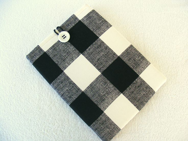 """IPad Pro 12 Cover, 11 Inch Mac Book Cover, Mac Book Air Cover, Surface 3 Cover, Surface Pro 3 & 4, Black and White Plaid"""", 12 1/2"""" x 9 by LindaLeasBoutique on Etsy"""