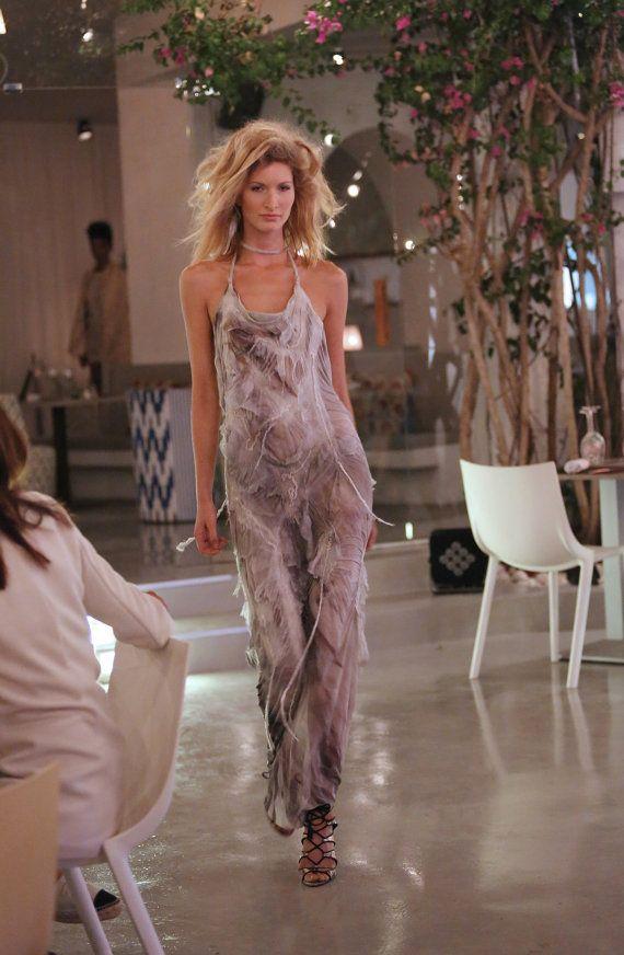Silk jersey nuno felt, long dress. SS15