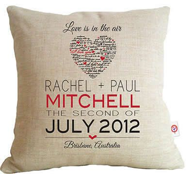Personalised Linen Cushion Cover for Grown Ups - Script Heart