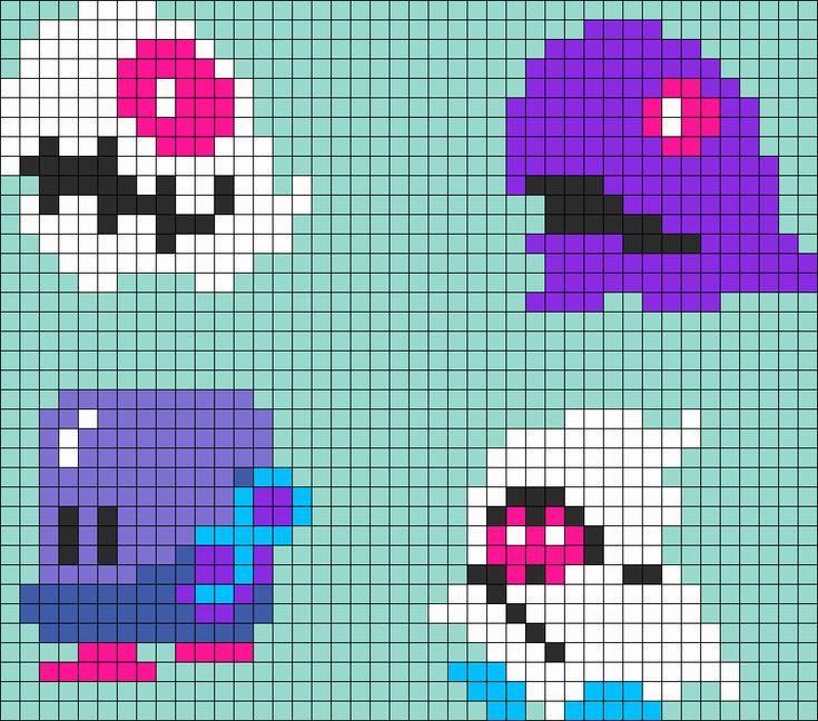 Bubble Bobble Monsters perler bead pattern