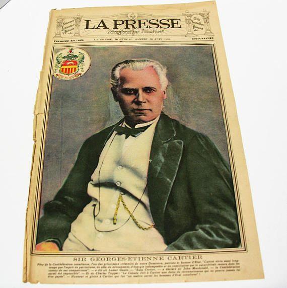 Rare Antique 1928 La Presse Newspaper Cover  Sir