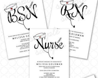FUN Nurse Graduation Invitations RN BSN Pinning Ceremony Nursing School Party Invites 3549