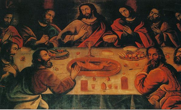 """""""The Last Supper"""" By Marcos Zapata Showing Christ And The Apostles Having Guinea Pig With A Glass Of Chicha. This painting hangs in the Cathedral of Cuzco, Peru"""
