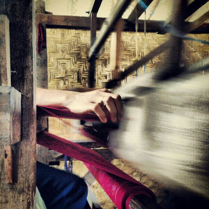 Weaving a kain ikat
