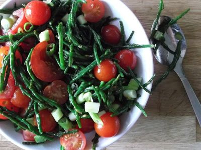 chip butties and noodle soup: samphire and tomato salad