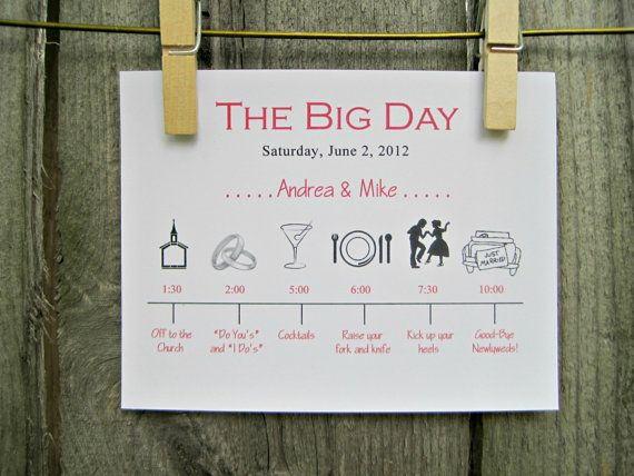 Hey, I found this really awesome Etsy listing at http://www.etsy.com/listing/76534829/wedding-day-timeline-schedule-of-events