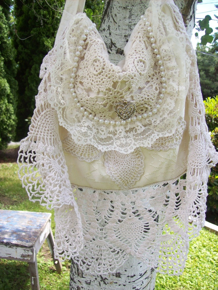 Bohemian Gypsy Magnolia Pearl Style Cream Lace Bridal Bag Purse. $50.00, via Etsy.