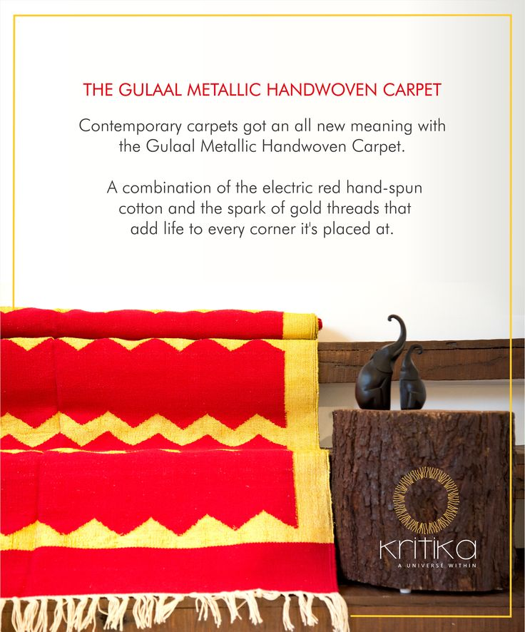 THE GULAAL METALLIC HANDWOVEN CARPET. Contemporary carpets got on all new meaning with the Gulaal Metallic Gandwoven Carpet. A combination of the electric red hand-spun cotton and the spark of gold threads that add life to every corner it's placed at. Connect on +91 9820530692 / 9820530664 or mail on sonal@kritikauniverse.com #kritikauniverse #gulaal #handwoven #carpet