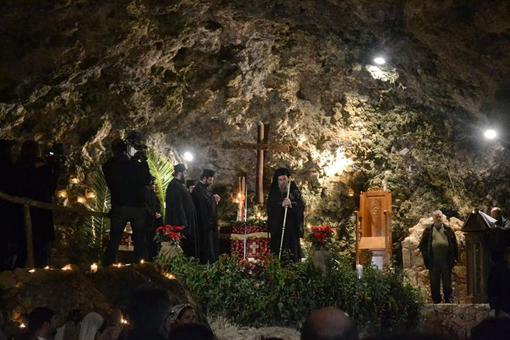 Spiritual atmoshpere during the Divine Liturgy in Marathokefalas Cave, Chania