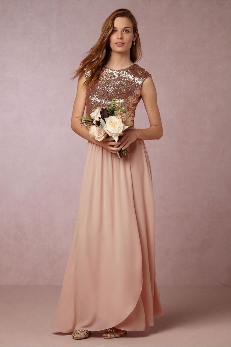 2016 Newtwo Pieces Blush Pink Bridesmaid Dresses Rose Gold Sequins Top Long Country Beach Honor Of