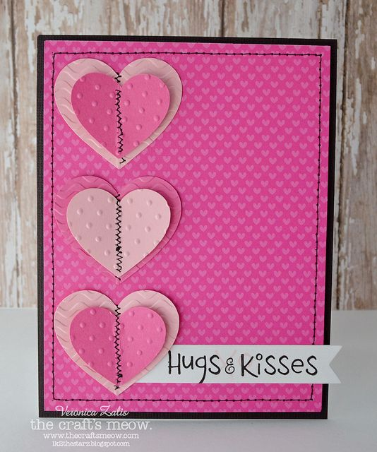 handmade Valentine card ... three die cut hearts in a column ,,,  hot pink with pinks ...black mat, sewing lines and sentiment  ink ,,, clean and simple design with adornments ... zig zag machine sewing down the middle of the hearts ... machine stitching around the edge ,,, great card! ... the craft's meow ,,,