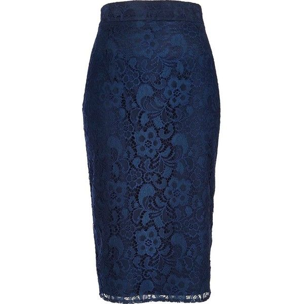 River Island Navy lace pencil skirt ($19) ❤ liked on Polyvore featuring skirts, pencil skirt, bottoms, sale, navy blue knee length skirt, lace overlay skirt, navy blue pencil skirt, zipper pencil skirt and knee length pencil skirt