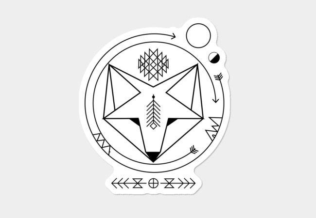 smiling geometric fox native spirit art universe Sticker - Design By Humans