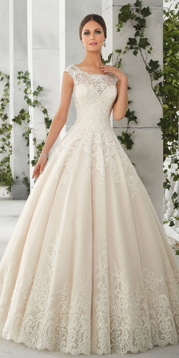 Charming Tulle & Satin Scoop Neckline A-Line Wedding Dresses With Lace Appliques – Abby Avila