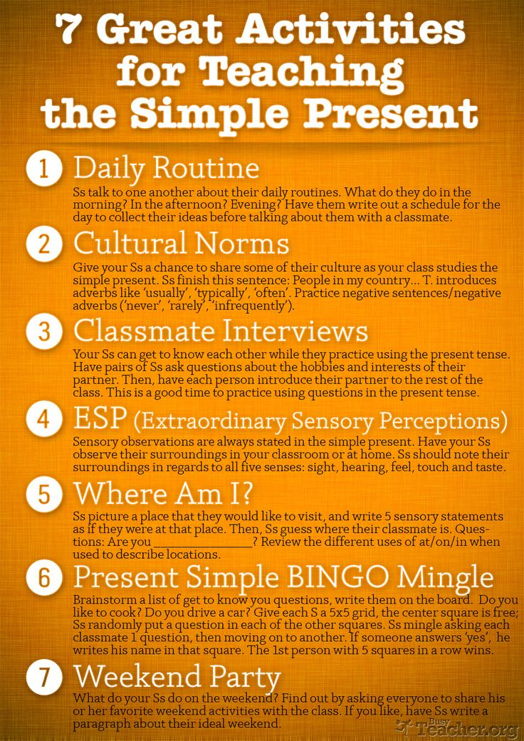 HI-RES POSTER: 7 Great Activities for Teaching the Simple Present.   Re-pin if you ❤ it!