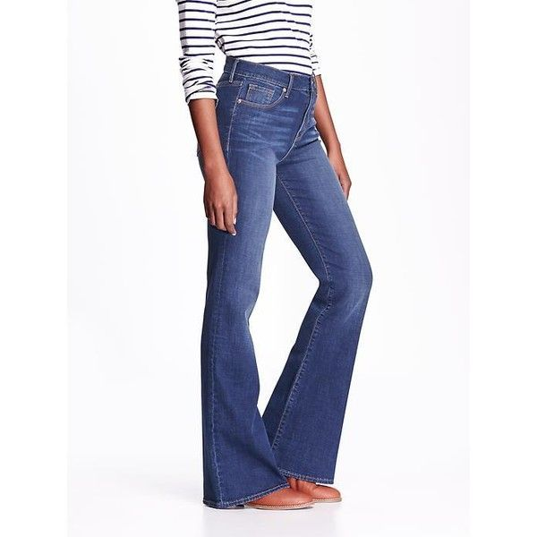 Old Navy Womens High Rise Vintage Flare Jeans ($34) ❤ liked on Polyvore featuring jeans, meg, high waisted flared jeans, white jeans, white flared jeans, stretch jeans and petite flare jeans