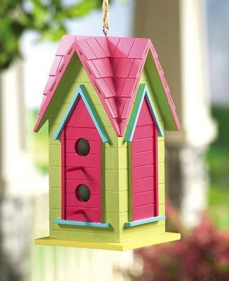Pink and green birdhouse