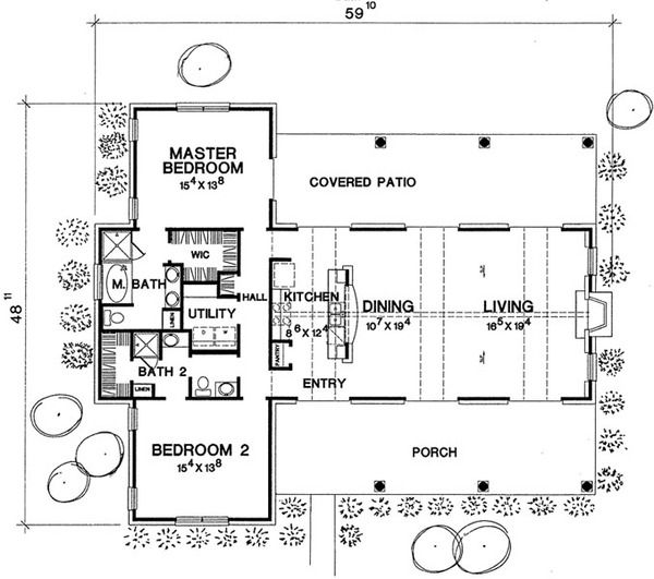Country Style House Plan – 2 Beds 2 Baths 1588 Sq/…