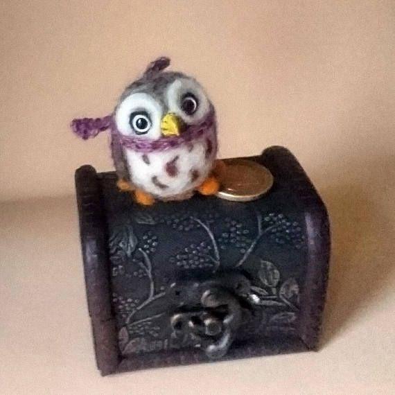 Needle Felted Animals. Felted bird. Needle Felted owl. Owl