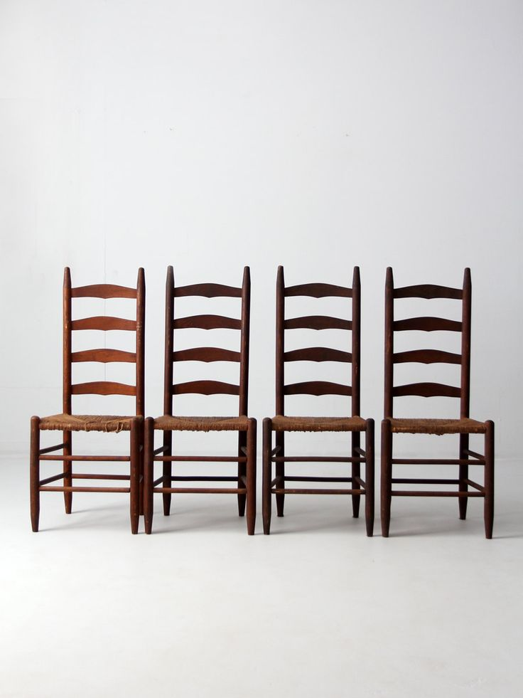 antique ladder back chairs with rush seat set of 4 dining chairs (2200.00 USD) by 86home