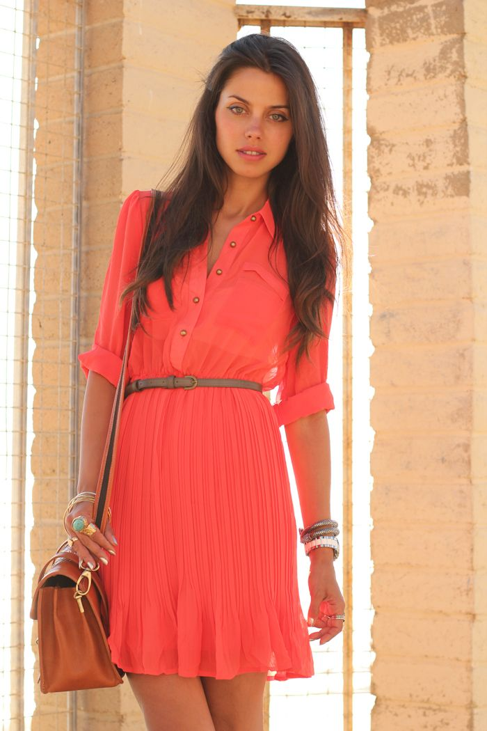 Coral Chiffon Pleated Dress style