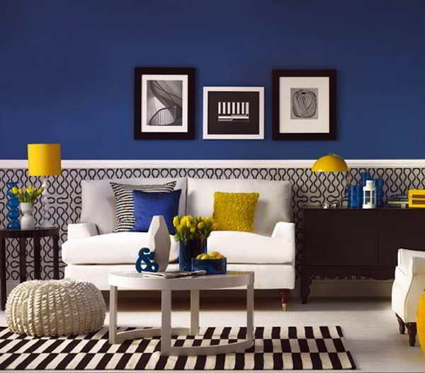 Contoh Cat Dinding Ruang Tamu Warna Biru Minimalis Elegan