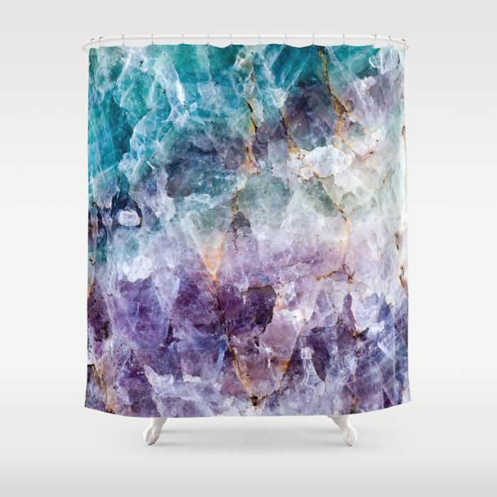 Buy Turquoise Purple Quartz Crystal Shower Curtain By Thequarry