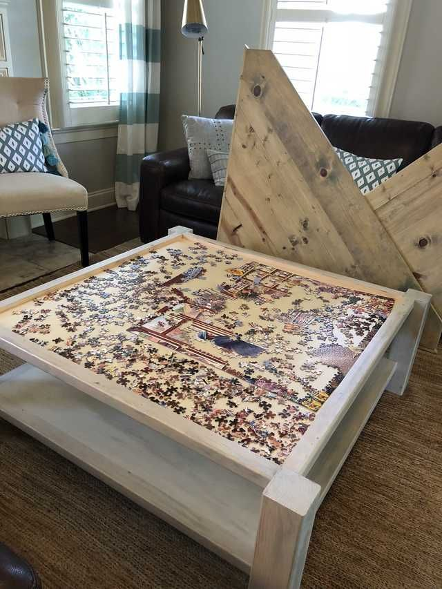 Built A Puzzle Table Coffee Table In 2020 Puzzle Table Home
