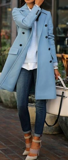 white shirt, white purse, nude shoes with jeans and light blue coat