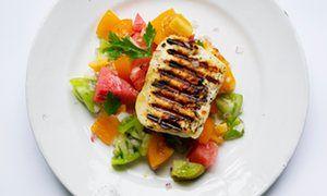 Rainbow colours: grilled halloumi watermelon salsa.