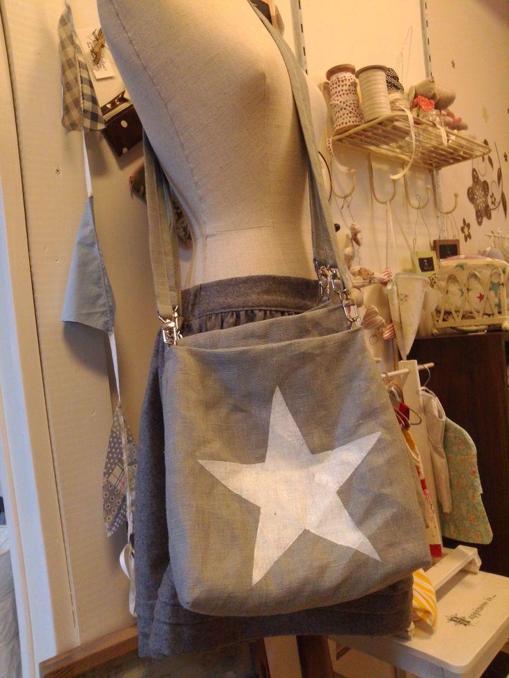 gray star bag of linen / Harmaa tähti laukku
