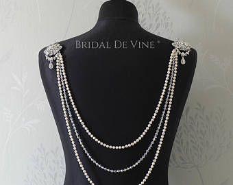 Escenario nupcial largo drapeado Gatsby Vintage collar inspirado hombro - vestido de novia