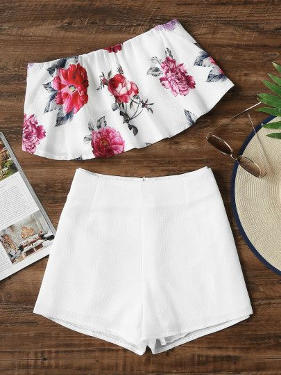Floral Print Bandeau Top With Shorts -SheIn(Sheinside)