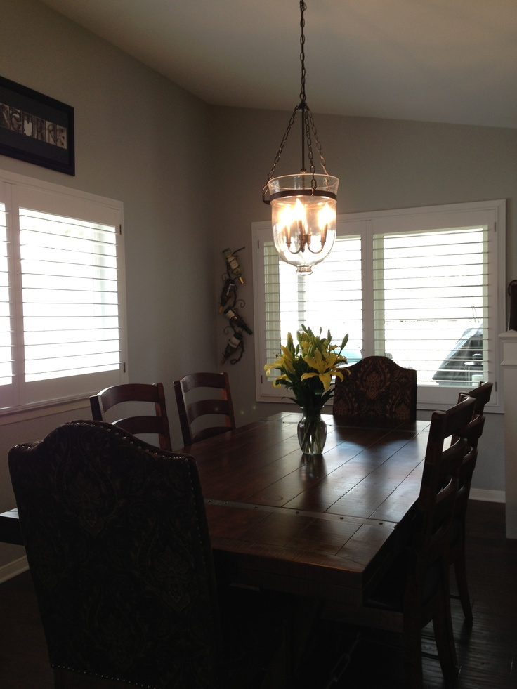 My Dining Room Table And Chairs: Havertyu0027s Chandelier: Pottery Barn  Plantation Shutters: Rockwood