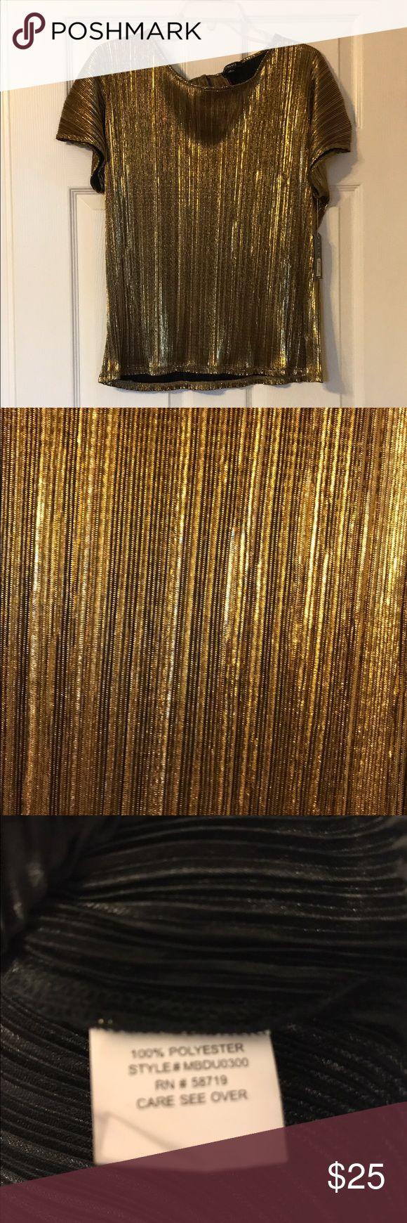 NWOT metallic gold short sleeve blouse-Large NWOT metallic gold short sleeve blouse-Large Tops Blouses