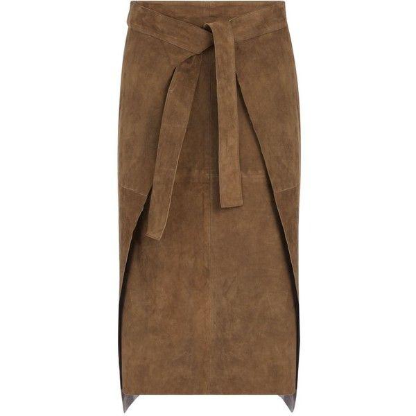 Joseph Suede Floyd Skirt in KHAKI found on Polyvore featuring skirts, khaki, brown midi skirt, panel skirt, suede skirt, sash belt and layered skirt