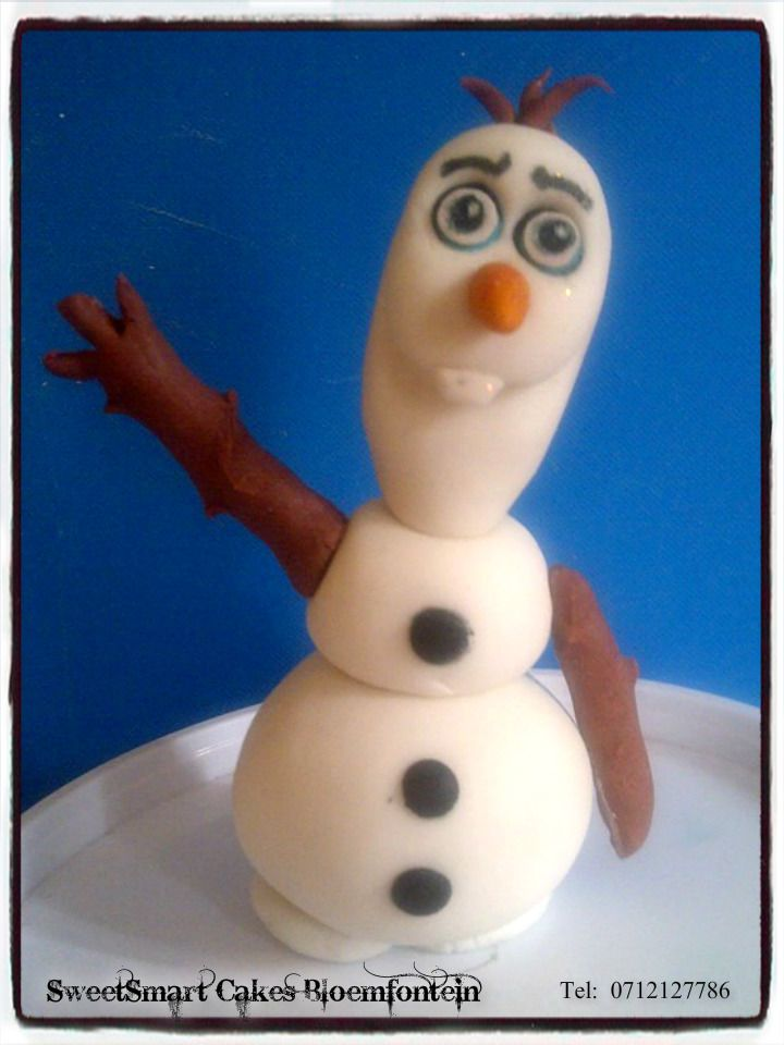 Fondant Olaf @ R60 each (All figurines contain Tylose which preserves the figurine for an indefinite period of time) For more information & orders email SweetArtBfn@gmail.com or Call Lola 0712127786.