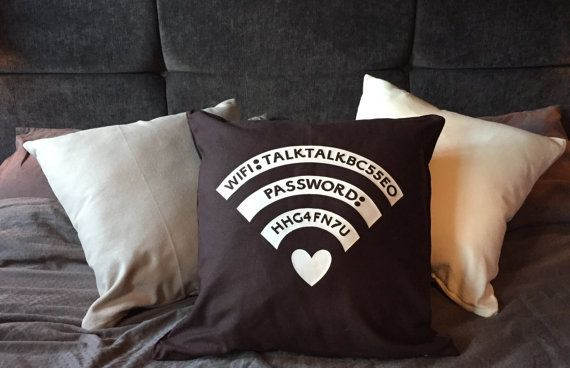 Personalised WiFi password cushion by wallaceimagery on Etsy