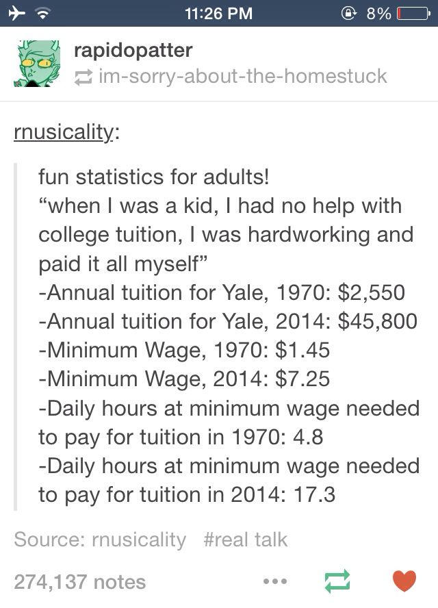 And people blame kids these days for not going to college! If we can't pay, what do we do?!?!