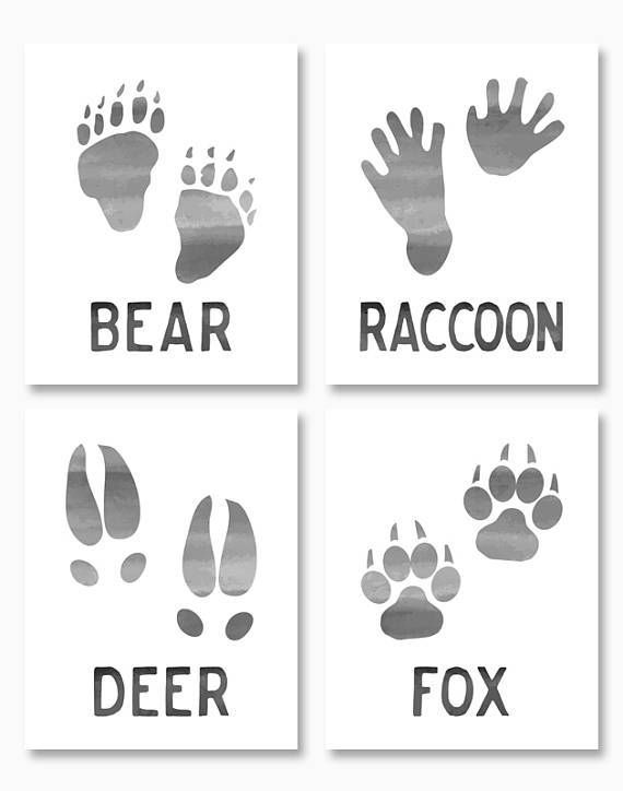 Rustic Nursery Printable Art Woodland Animal Printables Set Of Four Bear Fox Deer Rac Paw Prints Instant Downl
