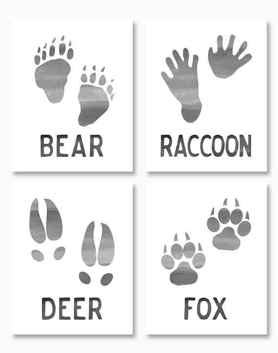 RUSTIC NURSERY, Printable Nursery Art, Woodland Animal Printables, Set of Four, Bear, Fox, Deer, Raccoon, Paw Prints, Instant Download #afflink