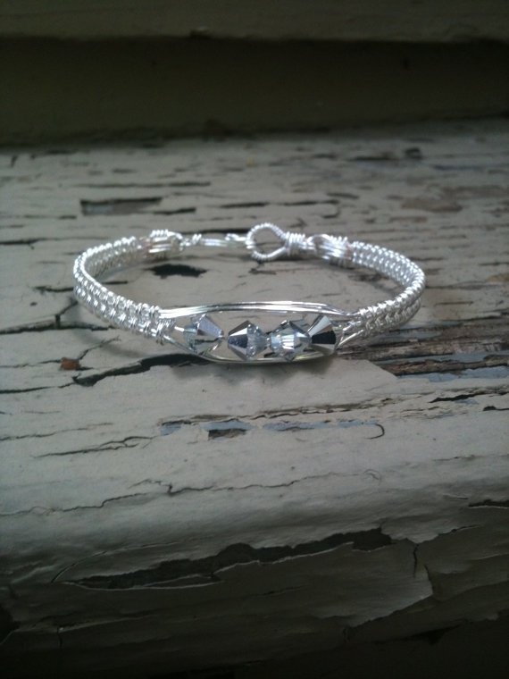 Wire Weave Bangle Bracelet by MoonshineGems on Etsy, $6.99: Wire Jewelry, Craft, Weave Bangle, Wire Wrap, Wirework, Wire Bracelets, Jewelry Wire Work, Bangle Bracelets