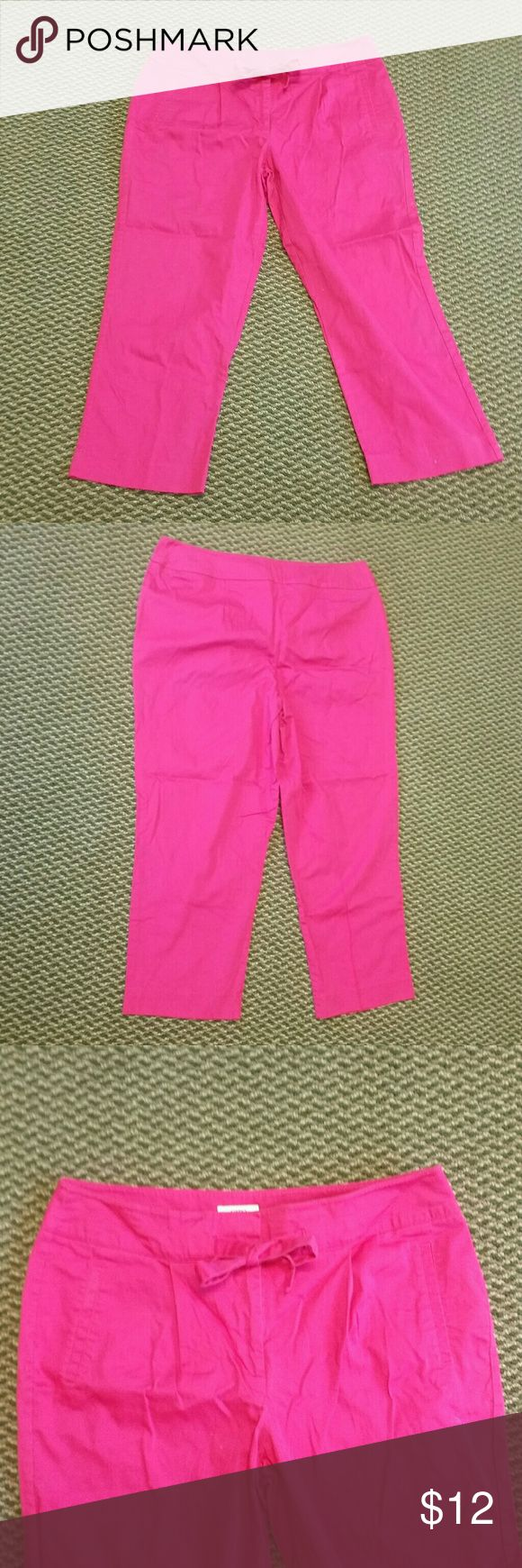 """Cato Pink Capri Pants Tie Bow Pockets Cotton Blend Cato Pink Capri Pants  With a Tie /Bow at waist 2 Pockets  Cotton Blend 97% Cotton 3% Spandex Slight Stretch Machine Washable  Measures approximately 36"""" at waist and 35"""" in length  2 hook and loop closures with 1 button and a zipper In pants box #1 Cato Pants Capris"""