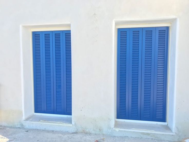 Accoya wood shutters and more for 10 beautiful detached summer villas in Paros island. White and blue the identification mark of Cyclades islands!